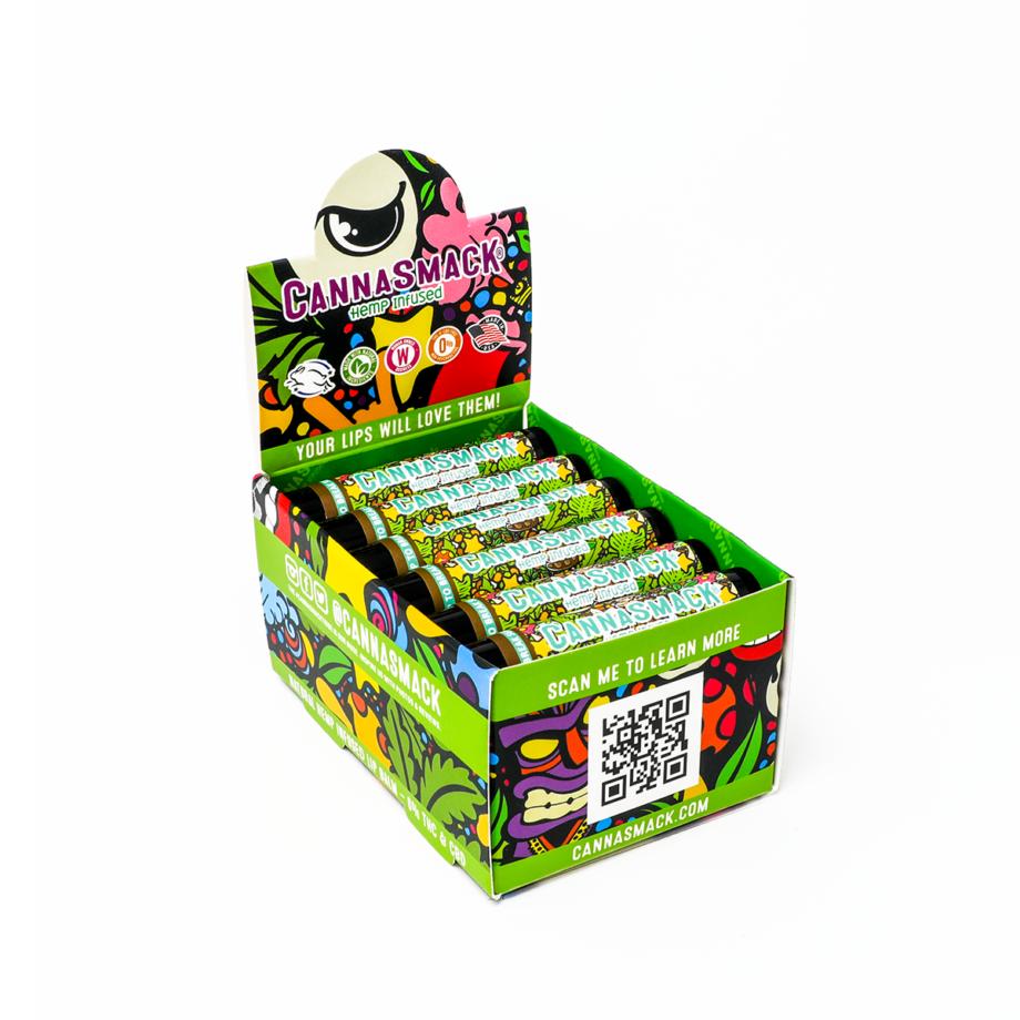 rootbeer float vegan hemp lip balm point of sale display